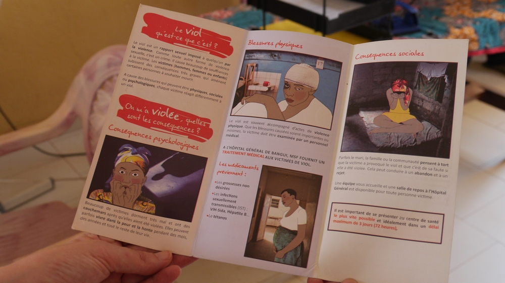 An information pamphlet on sexual violence from MSF's program in Central African Republic.