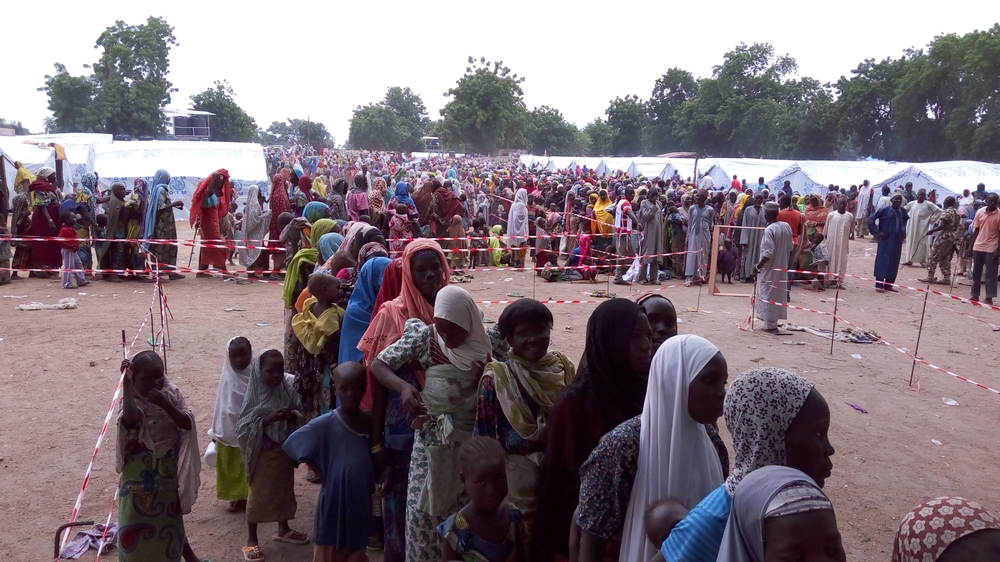 People queue at an MSF clinic in Bama.