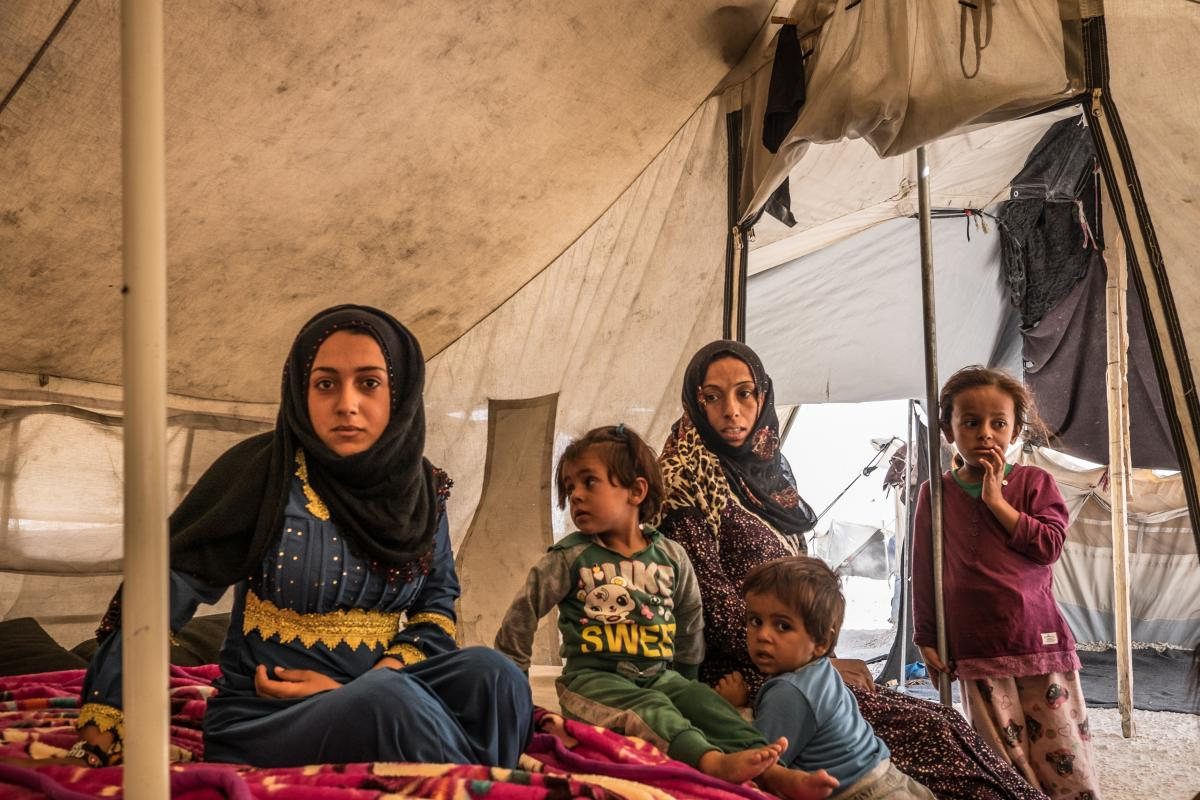 People displaced from Raqqa at Ain Issa camp