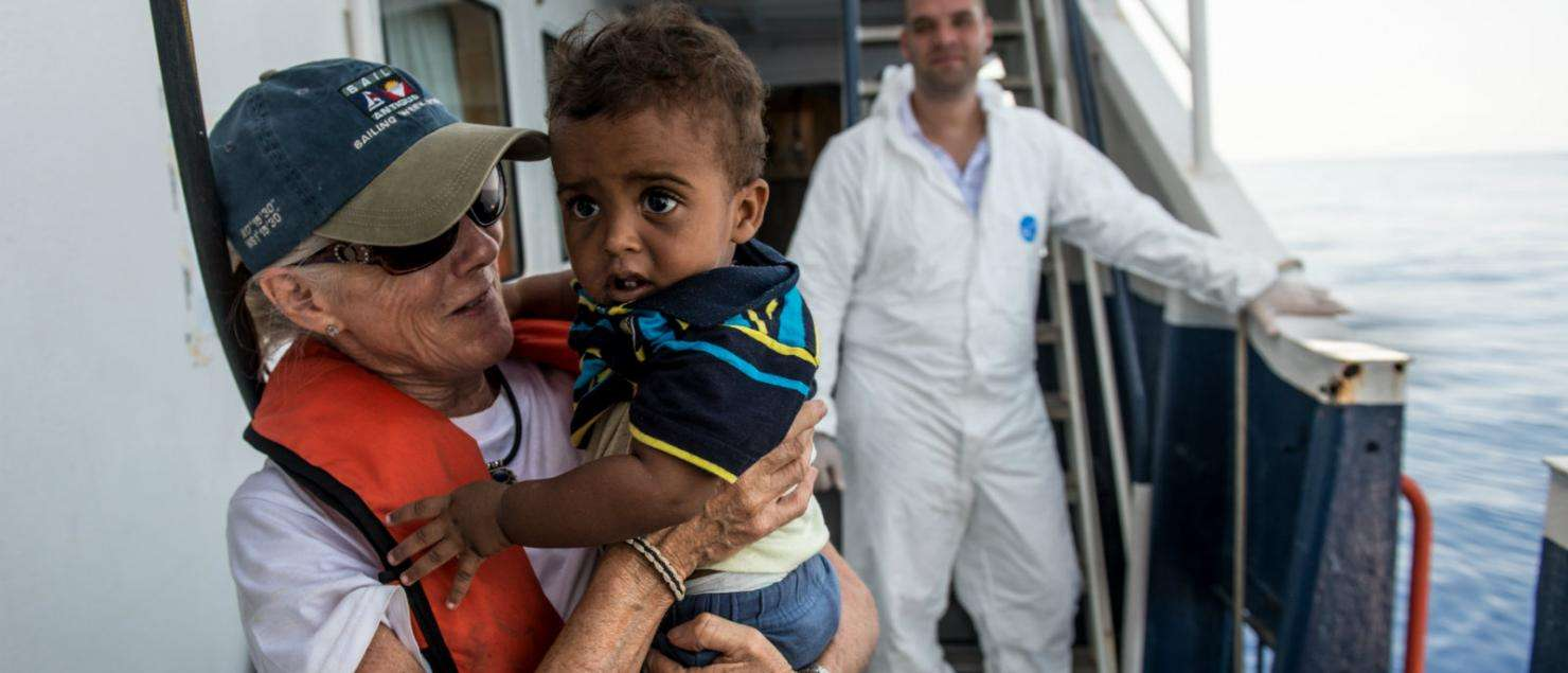 MSF medical team leader rescues a 9-month old from the Mediterranean Sea