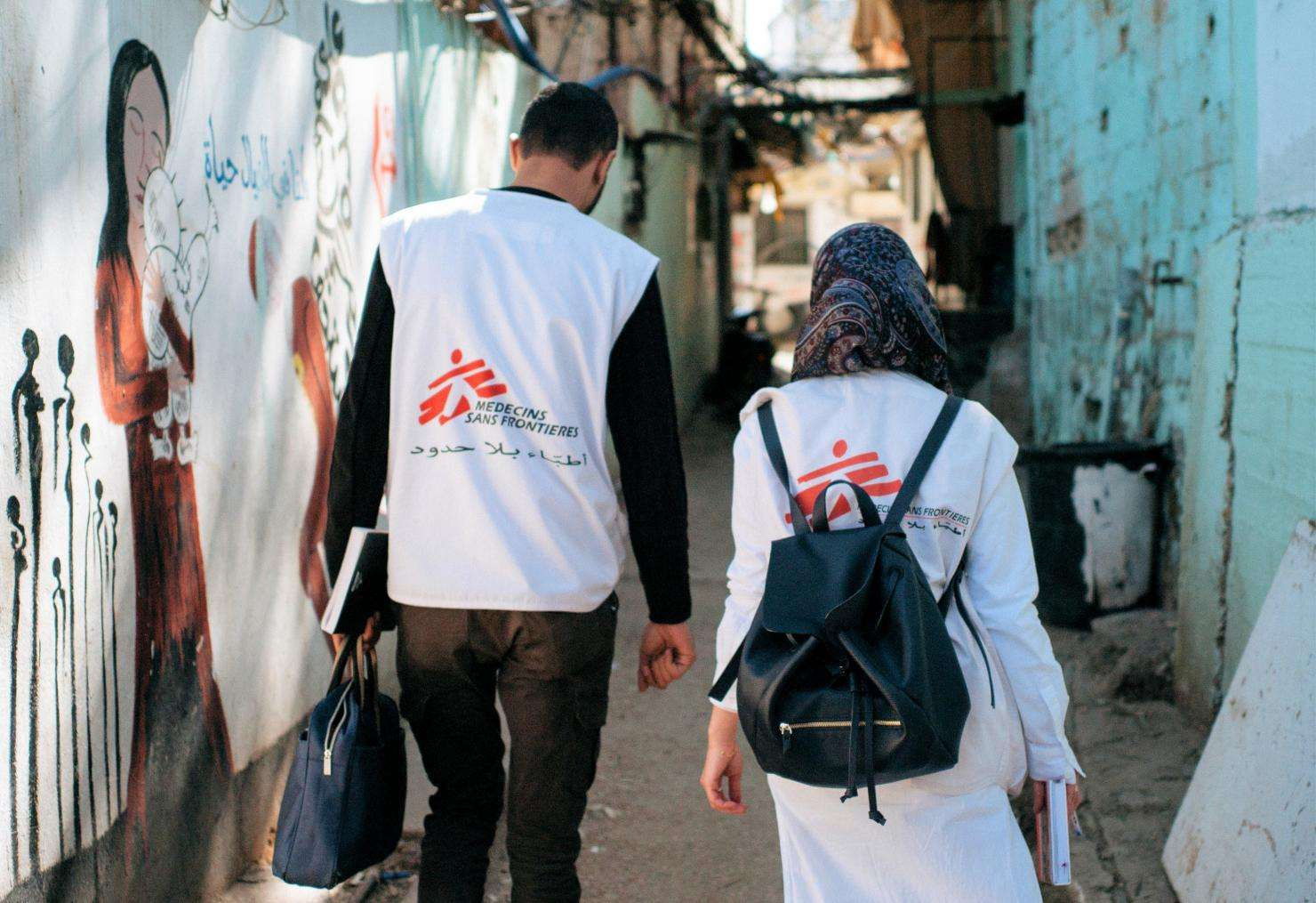 MSF field workers provides home-based care to around 170 elderly women and men with chronic diseases and mobility problems living inside the Burj el-Barajneh refugee camp.