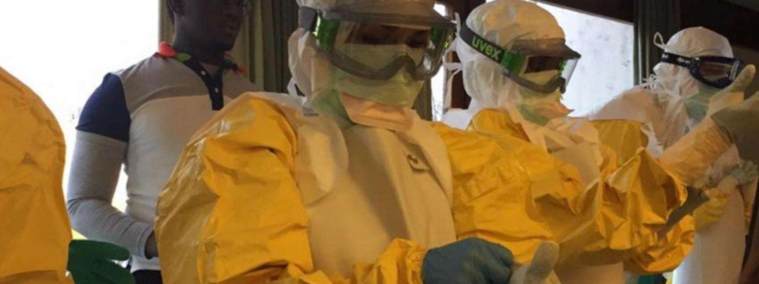 Nurse Valerie Gruhn trains for an assignment with the MSF Ebola response team