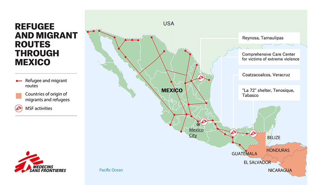 Refugee and migrant routes through Mexico