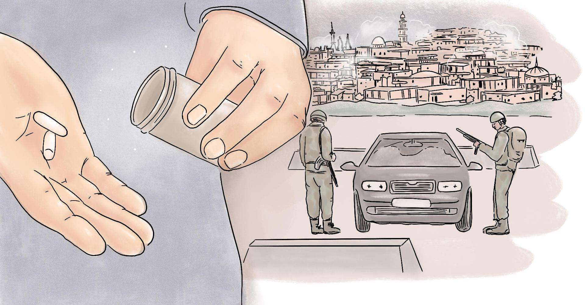 Difficulty in getting medicine in Syria depicted in an illustration