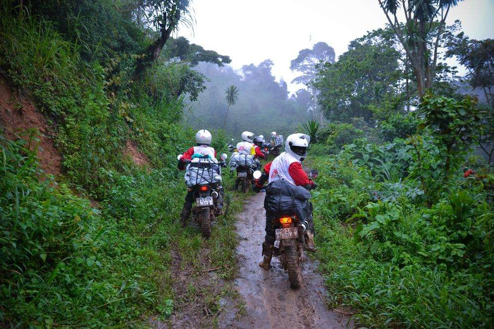 Medecins Sans Frontiers (MSF) motorcycle drivers on their way to to Remeka