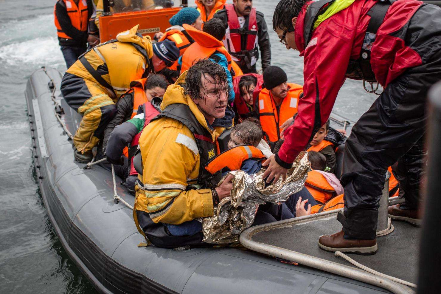 MSF and Greenpeace rescue a capsized refugee boat of Lesbos.