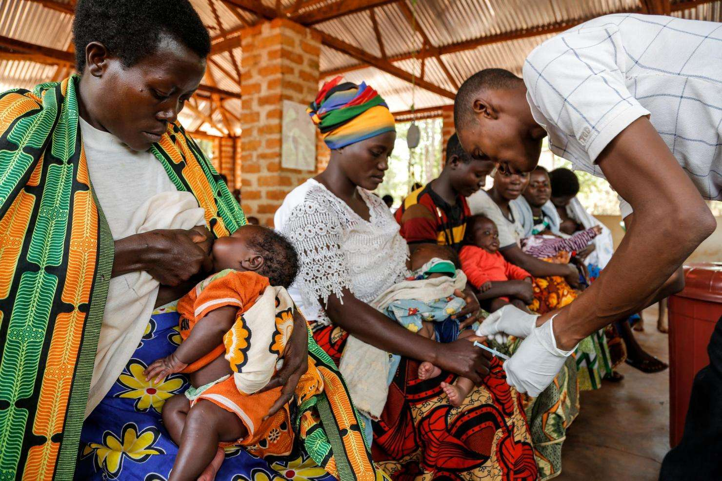 A child is vaccinated in Nduta camp. MSF is the only health provider in the camp.