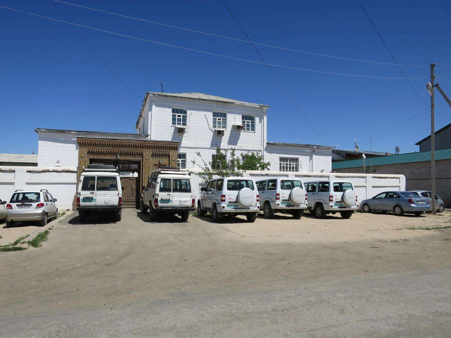 MSF cars outside the MSF office in Nukus, Uzbekistan.