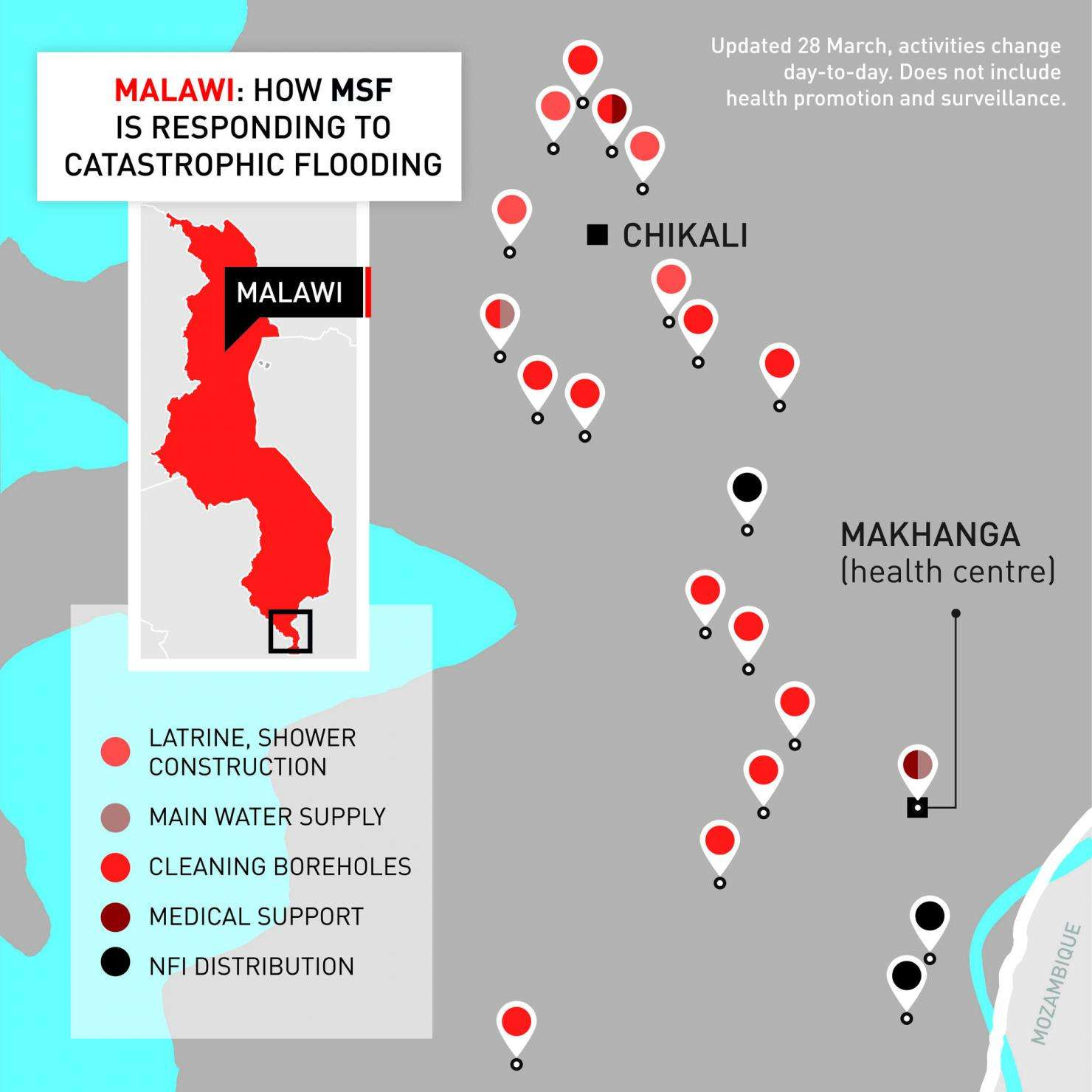 Map of MSF's emergency response in Makhanga, Malawi