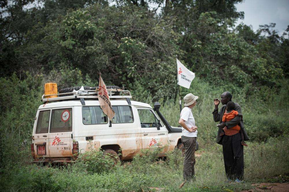 A villager tells a Doctors Without Borders mobile clinic coordinator how the people of his village are hiding in the bush, fleeing reoccurring waves of violence by militias in Bambari, Central African Republic.
