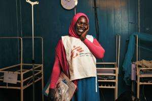 Bakhita, a health promoter in the Doro camp hospital.