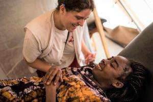 MSF midwife assists in the delivery of a baby at the Médecins Sans Frontières (MSF) hospital in M'Poko camp, near Bangui, the capital of Central African Republic.