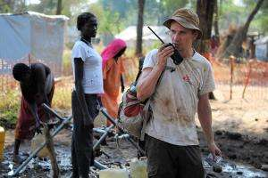 MSF water and sanitation expert at a water point in Doro refugee camp in Maban county, South Sudan.