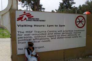 This April 2012 photograph shows the entrance noticeboard at the newly reconstructed MSF Trauma Centre, Kunduz, Afghanistan