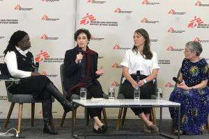 A panel discussion held by MSF on maternal mortality.