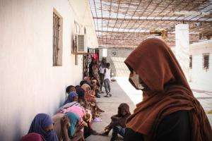 Women and children in a detention center in Khoms, Libya.