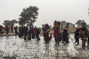 People flee from Rann Nigeria to Bodo Cameroon after an attack on January 14