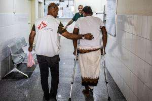Inside MSF's trauma hospital in Aden, Yemen.