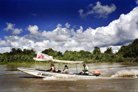MSF boat traveling to a medical project