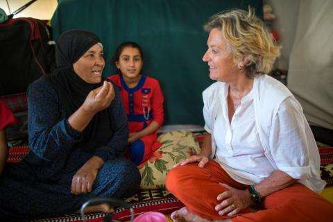 MSF provides mental health activities in Khanaqin refugee camp in northeast Iraq. The blond expat mental health officer is Eva Raith Ruder