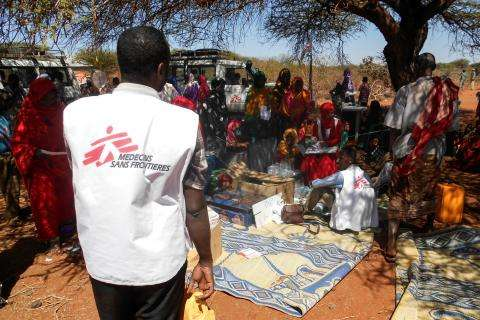 MSF outreach team at a mobile clinic in Khoratunje in the Somali Region of Ethiopia.