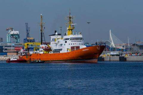 Aquarius Arrival at Harbour Port Valencia Spain